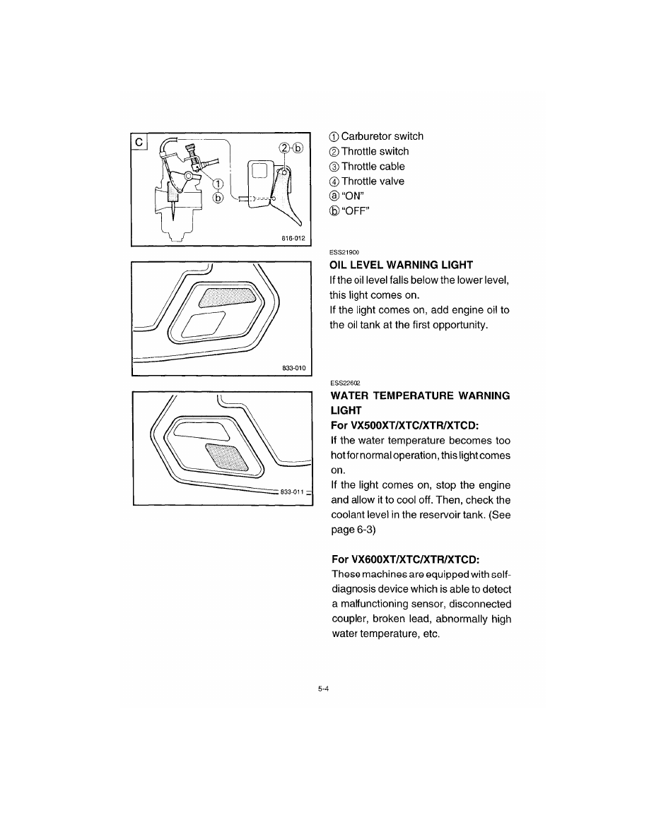 Snowmobile Yamaha VX500 / VX600  Manual - part 6
