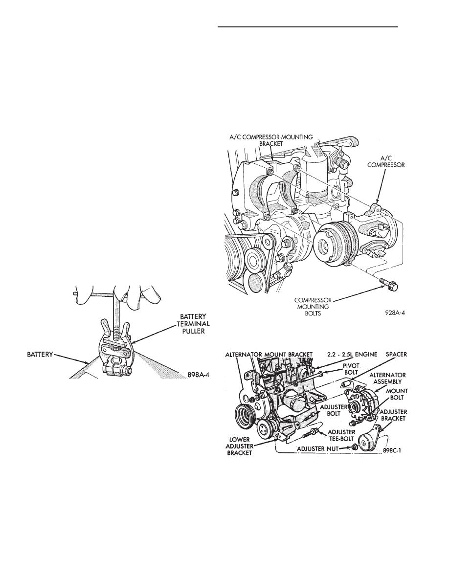 Chrysler Town Country Voyager Dodge Caravan Plymouth Alternators Parts Diagram Alternator Mounting Service Procedures