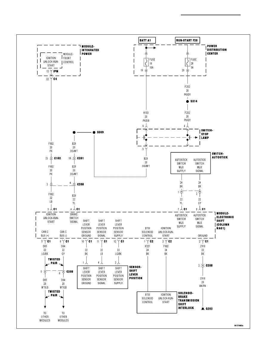 Chrysler 300 Touring 300c Dodge Magnum Manual Part 1929 Wiring Diagram P0931 Btsi Control Circuit High Esm Column Shift