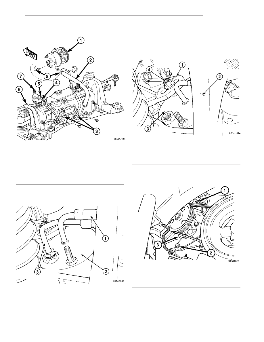 Chrysler Town Dodge Caravan Manual Part 359 The Negative Battery Cable Disconnect And Cap Power Steering 11 Remove Fluid Pressure Line