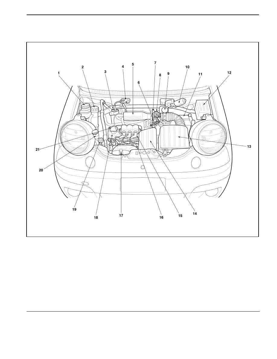 daewoo matiz (2003 year) manual part 11a \u2013 4 general engine information engine compartment (euro iii)