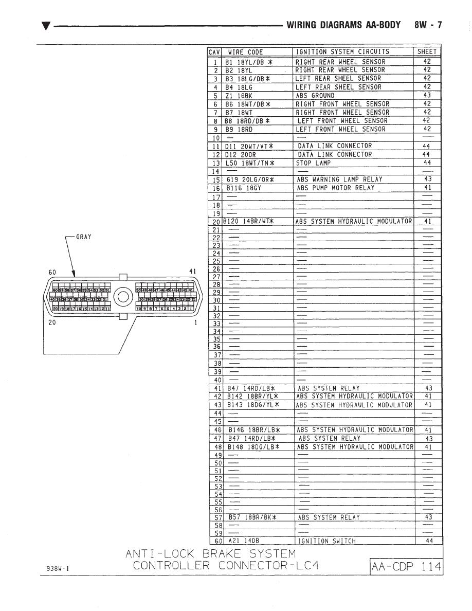 Chrysler Le Baron Dodge Dynasty Plymouth Acclaim Manual Part 2 47 Wiring Diagram Diagrams Aj Body
