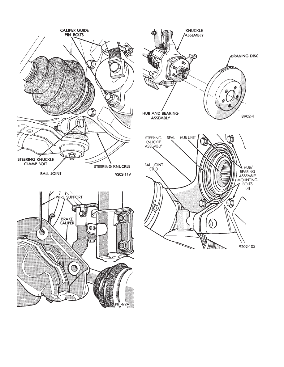 Chrysler Le Baron Dodge Dynasty Plymouth Acclaim Manual Part 81 Hub Assembly Diagram 2 Position New And Bearing Seal In