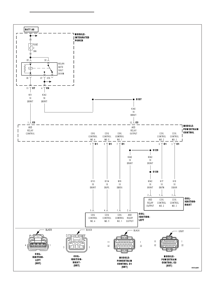 Dodge Ram Truck 1500 2500 3500 Manual Part 1232 Wiring Diagram Ignition Coil Plug Black Or P0353 3 Primary Circuit