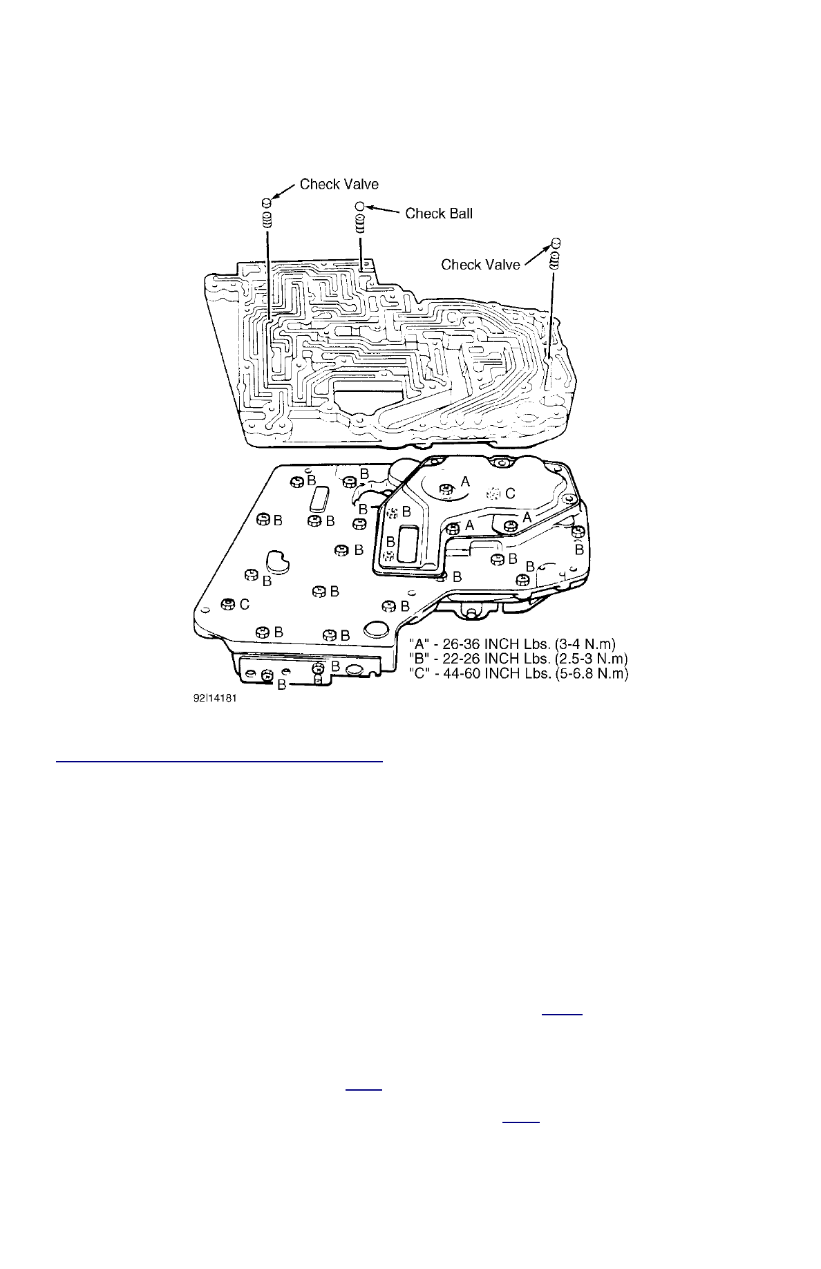 Ford Festiva Instruction Part 107 428 Engine Diagram Fig 23 Locating Valve Body Check Balls Tightening Bolts