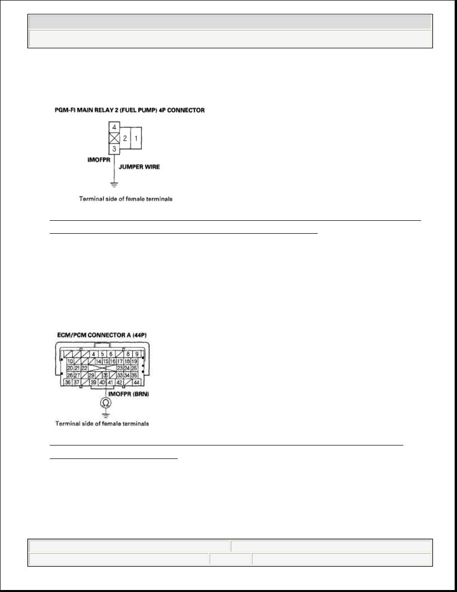 Honda Civic Manual Part 687 Fuel Pump Wiring Connect Pgm Fi Main Relay 2 4p Connector Terminal No 3 To