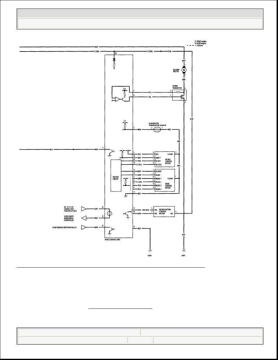 Honda Civic Manual Part 755 Hvac Control Drawing 15 Heating Air Conditioning Circuit Diagram 2 Of