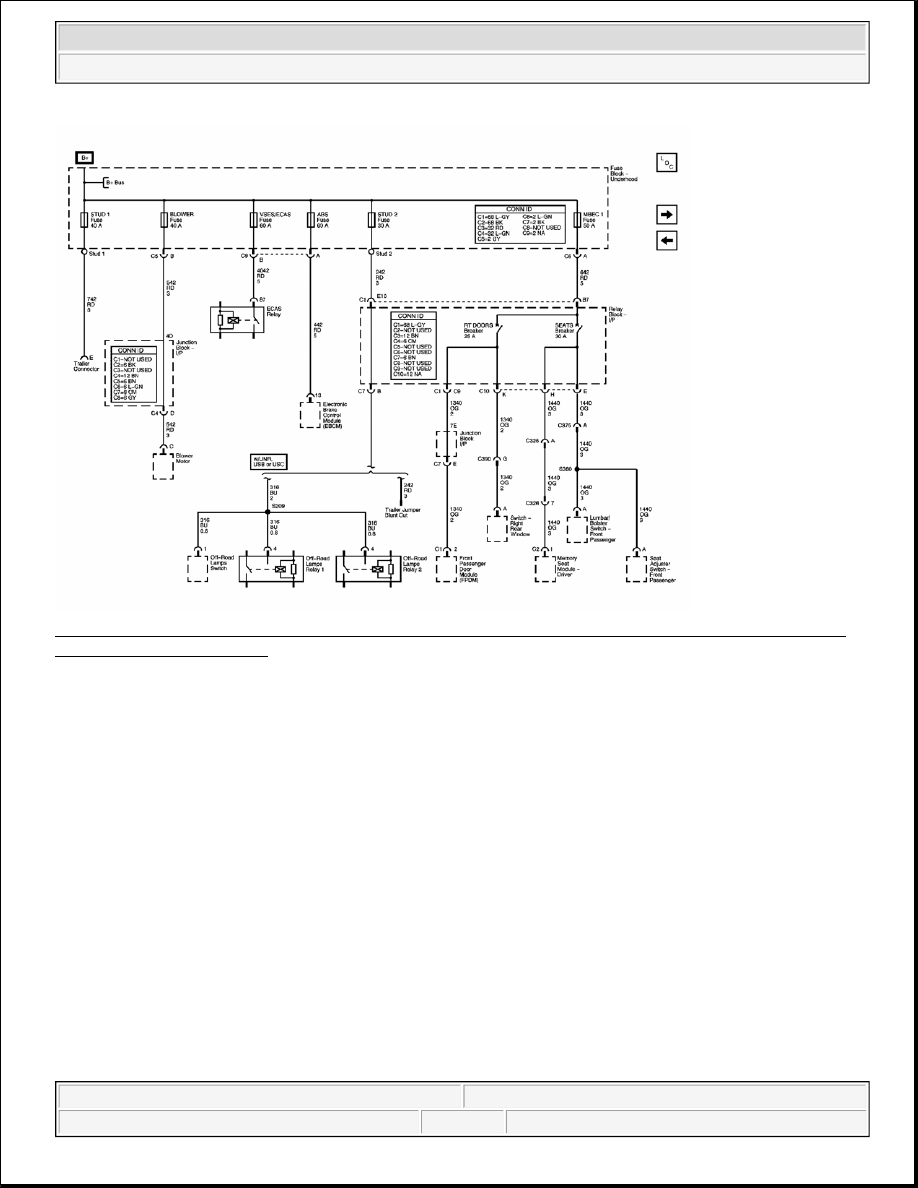 42: STUD 1, STUD 2, VSES/ECAS, BLOWER, ABS, and MBEC 1 Fuses, RT DOORS and  SEATS Circuit Breakers Schematic Courtesy of GENERAL MOTORS CORP. 2004 Hummer  H2