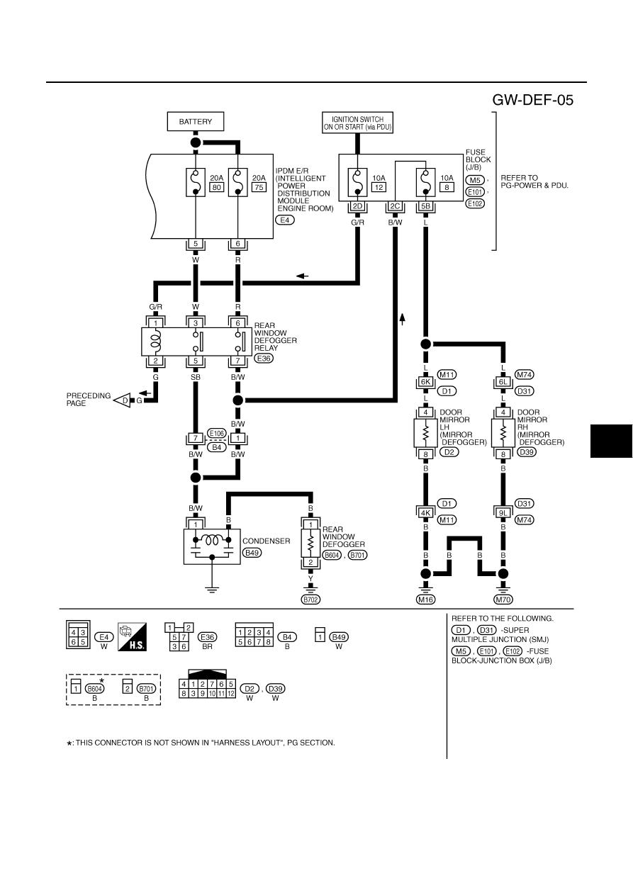 Infiniti M35 M45 Y50 Manual Part 820 2007 M35x Fuse Box Diagram Rear Window Defogger