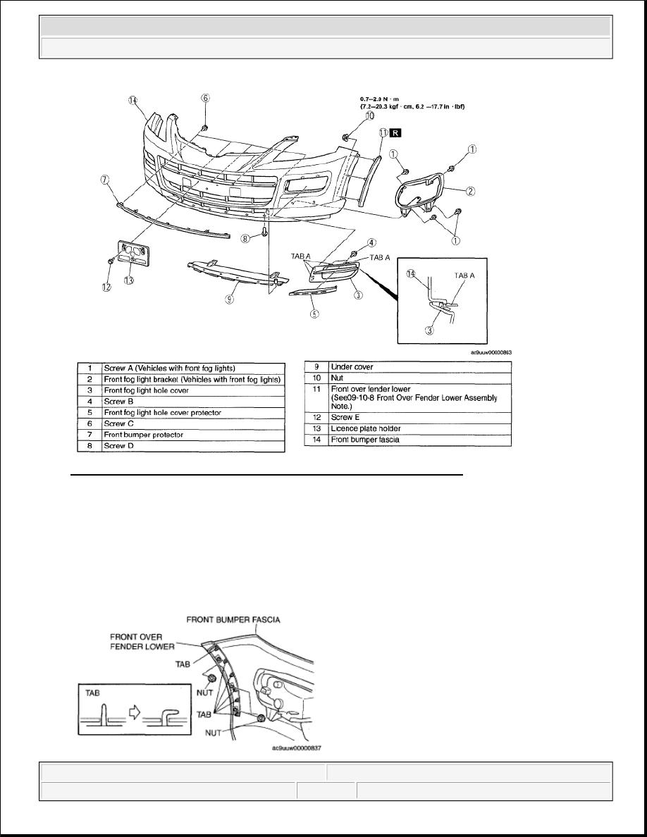 Mazda 3 Service Manual: Front Mudguard RemovalInstallation