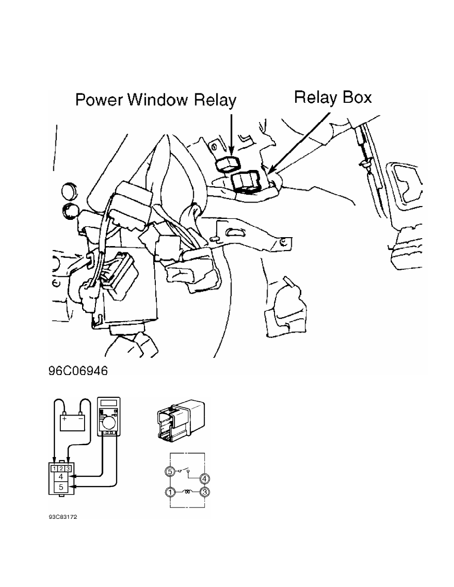 4: Locating Power Window Relay (3000GT)