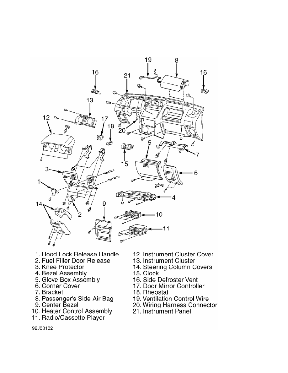 Mitsubishi Montero 1998 Manual Part 202 Wiring Harness Connectors Fig 9 Removing Instrument Panel