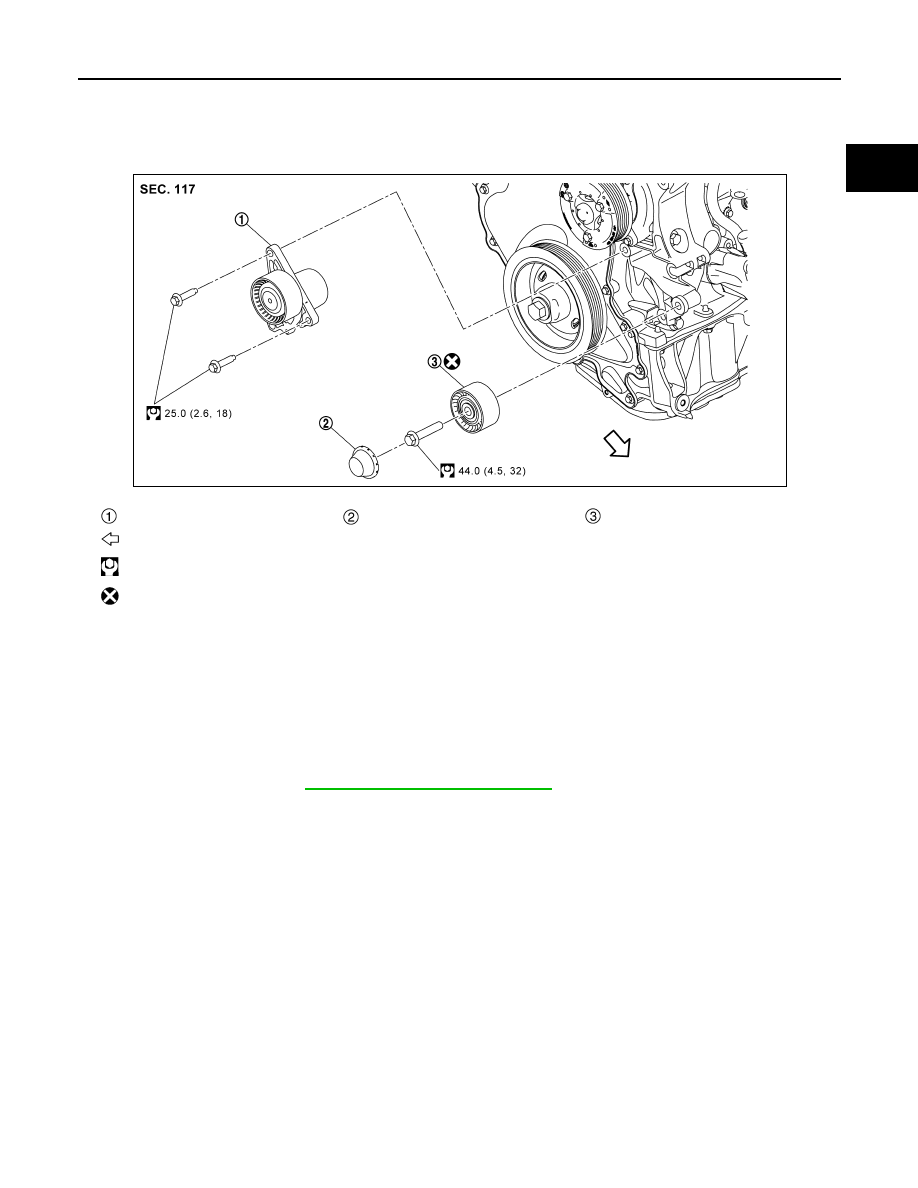 Nissan X Trail 32 Manual Part 1102 Idler Pulley Diagram Drive Belt Auto Tensioner And