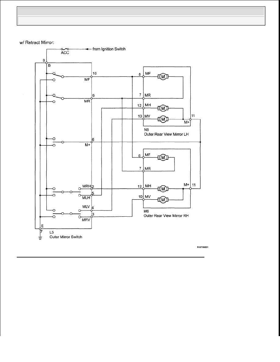 34: Power Mirror Control System (W/O Memory) Wiring Diagram (1 Of 3)  Courtesy of TOYOTA MOTOR SALES, U.S.A., INC.