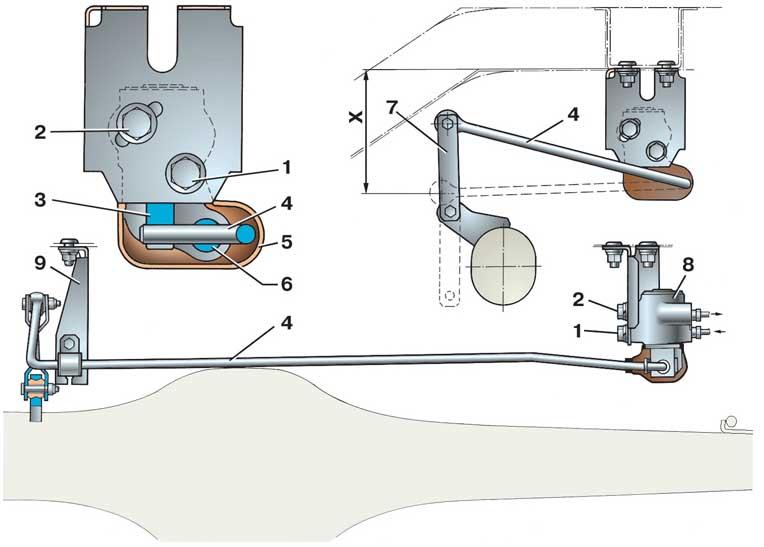 Схема регулятора давления тормозов